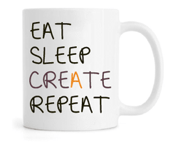 Caneca - Eat, Sleep, Create and Repeat na internet
