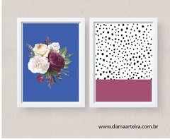 kit quadros  purple dot moldura branca