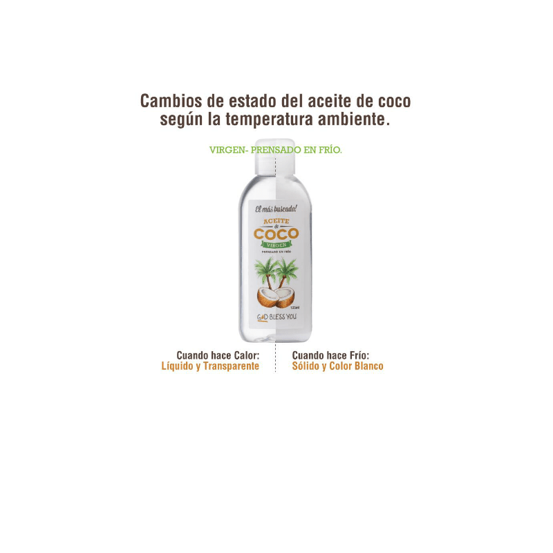 Aceite de Coco Virgen Premium 225 ml God Bless You en internet