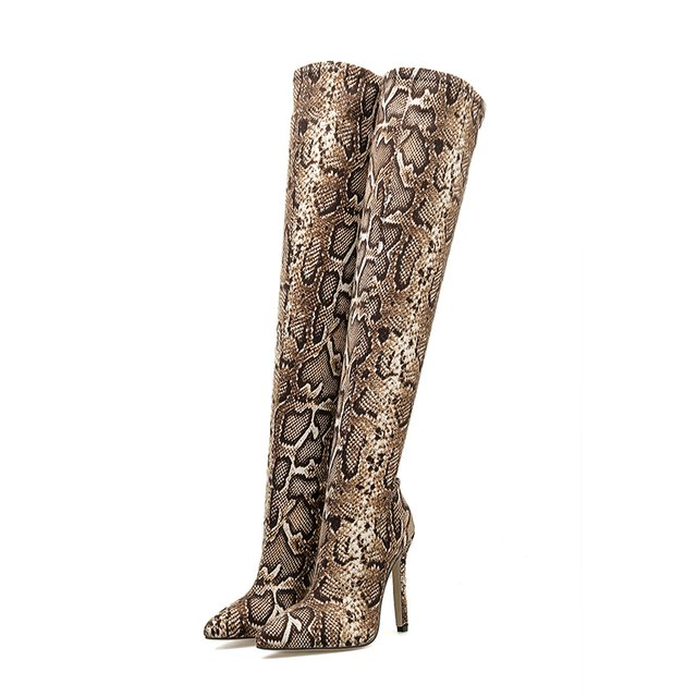 Bota over the knee animal print snake