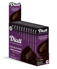 Chocolate Meio amargo 50% Diet 25g Display com 12 Unidades Diatt