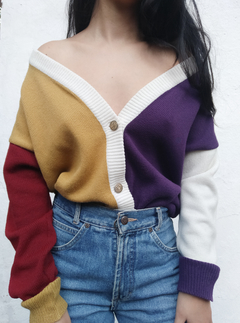 Cardigan color block vintage