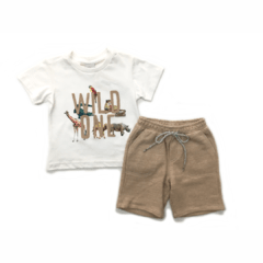 Conjunto Camisa Wild One e Shorts Bege Anjos Baby