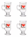 SET TAZA CAPUCCINO X4 I LOVE COFFEE 115 CC.