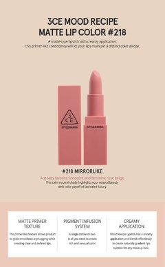 Imagen de 3CE - MOOD RECIPE MATTE LIP COLOR #218 Mirrorlike