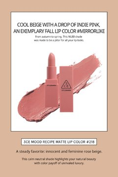 3CE - MOOD RECIPE MATTE LIP COLOR #218 Mirrorlike