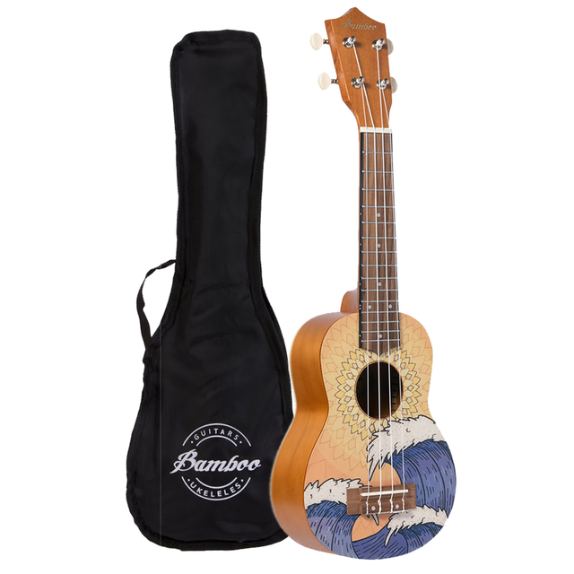 Ukelele Soprano Orange Wave (Incluye funda)