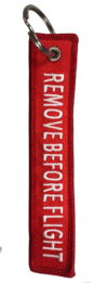 "Llavero Bordado ""REMOVE BEFORE FLIGHT"""