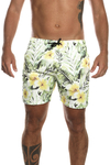 Male Shorts Yellow Hibiscus Print