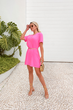 VESTIDO T-SHIRT ROSA NEON on internet