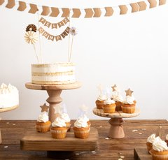 "15 TOPPERS ""FELIZ CUMPLE CRAFT BOHO"""