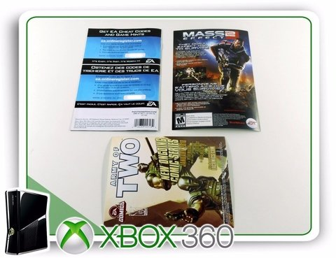 Encarte, Manual E Panfletos Army Of Two Originais Xbox 360 na internet