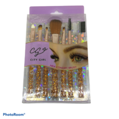 Set de 7 brochas City Girl mango de glitter dorado