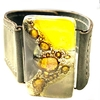 Cuero gris con rectangulo de vitreaux central color amarillo y negro 3 cm alto