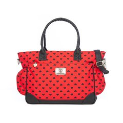 HAPPY LITTLE MOMENTS BOLSO CATA ROJO CORAZONES NEGROS