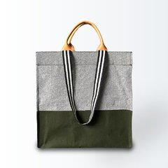 Bolsa Shopping Bag Verde com Cinza