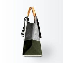 Bolsa Shopping Bag Verde com Cinza na internet