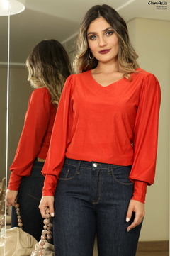 BLUSA MANGA BUFANTE RED CLAY