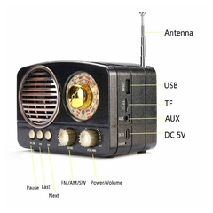 Radio Portatil Vintage Am Fm Retro Bluetooth Aux Usb Tf - TecnoEshop CBA