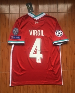 Camiseta Nike Liverpool Titular Virgil #4 2020 2021 Parches Champions UCL