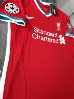Camiseta Nike Liverpool Titular Virgil #4 2020 2021 Parches Champions UCL - Roda Indumentaria