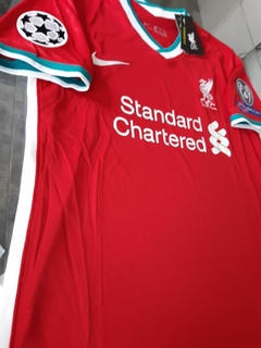 Camiseta Nike Liverpool Titular Firmino #9 2020 2021 Parches Champions UCL - Roda Indumentaria