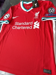 Camiseta Nike Liverpool Titular Virgil #4 2020 2021 Parches Champions UCL en internet