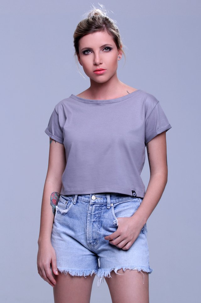 BLUSA CROPPED CINZA