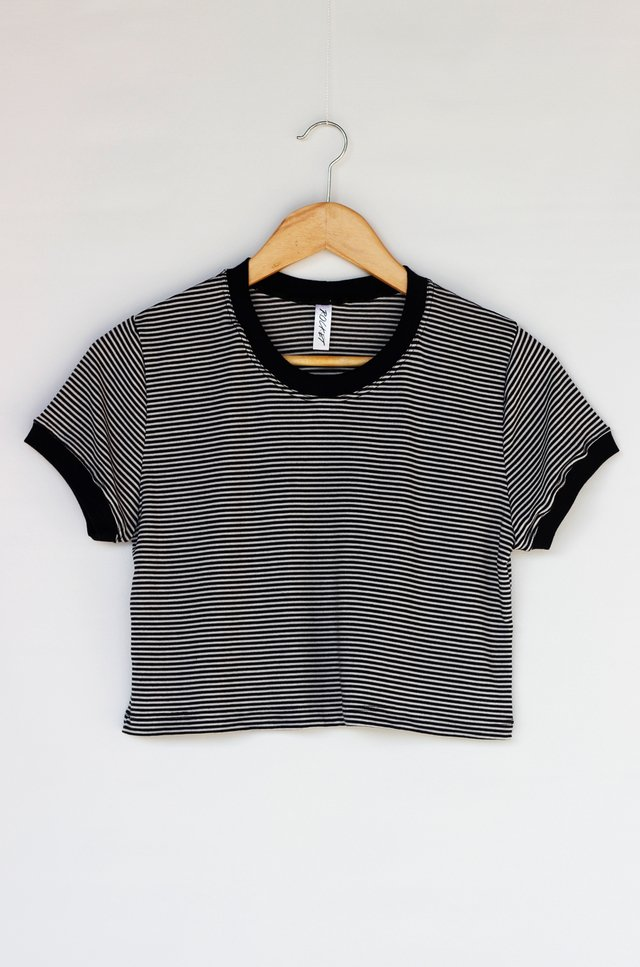 CROPPED RINGER TEE LISTRADA