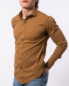 Camisa Lisa Slim Fit Mostaza 3140