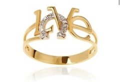 ANEL LOVE COM DIAMANTES  OURO 18K