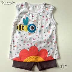 REMERA ABEJA FLOR BLANCO + SHORT LILA