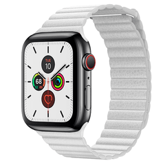 Pulseira Branca Couro Loop Para Apple Watch 38mm 40mm 42mm 44mm