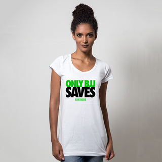 CAMISETA BRANCA - ONLY BJJ SAVES GREEN