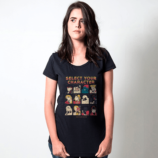 camiseta preta games select your character