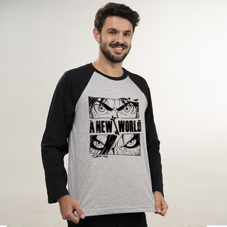 MANGA LONGA RAGLAN CINZA - A NEW WORLD