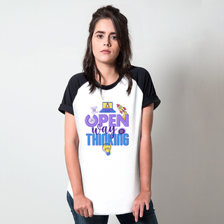 CAMISETA RAGLAN BRANCA - THE OPEN WAY OF THINKING