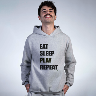 MOLETOM CINZA - EAT SLEEP PLAY REPEAT