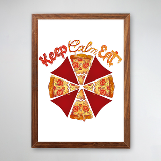 PÔSTER COM MOLDURA - KEEP CALM EAT PIZZA BRANCO
