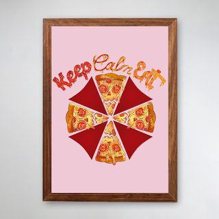 PÔSTER COM MOLDURA - KEEP CALM EAT PIZZA ROSA