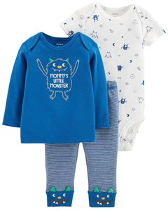 Carter's Set de 3 piezas: Remera + body + Pantalon -  Monster