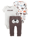 Carter's Set de 3 piezas: 2 Bodies + Pantalon - Perrito