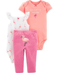 Carter's Set de 3 piezas: 2 Bodies + Pantalon - Flamenco