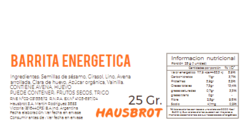 Ingredientes y Tabla Nutricional Energética