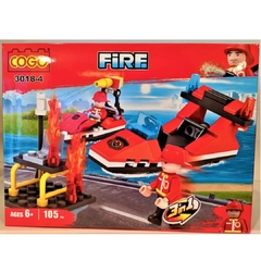 Bloque COGO Fire Fighter Bombero 3 en 1, 105 Piezas Art 3018-4 - Cachavacha