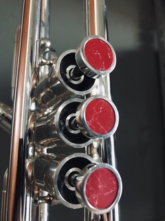 Buttons for Trumpet - Silver Plated with Red - Padovani Music