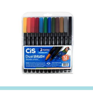 Kit Caneta CiS Ponta Dupla Brush c/ 12 Cores Aquarelável