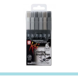 Caneta Pincel Sakura KOI Coloring Brush Pen - Tons Cinza
